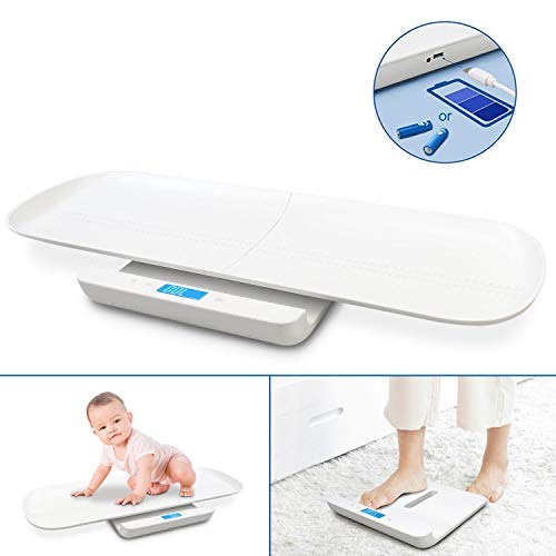 Sotech - Electric Baby Scale, Baby Scale, Blanco, with battery and USB charging, Tamaño: 73.5 x 34.5 x 6.5 cm (28.9 x 13.5 x 2.5 inch), Accesorios: 2x AAA batteries, 1x USB cable, 1x Measuring tape
