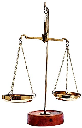 Purpledip Brass Weighing Scale Balance Tarazu Weights Measure Showpiece 'Law/Justicse for All' (11152)